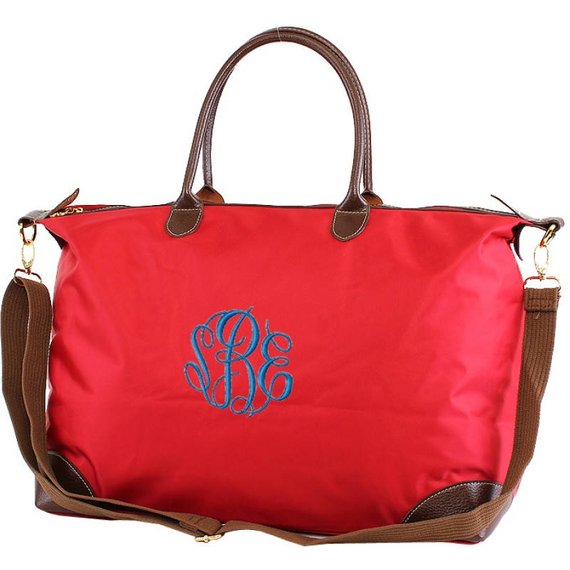 Monogrammed Nylon Duffle, women's, monogram, duffle, overnight, personalized, travel, weekender, bridesmaid, gift, bag