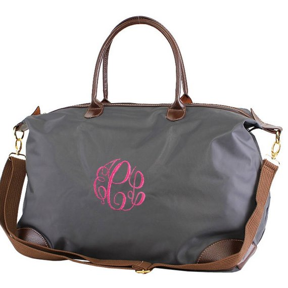 Monogrammed Nylon Duffle, Personalized Overnight Bag , Nylon Weekender Bag , Personalized Bridesmaid Gift | Grey