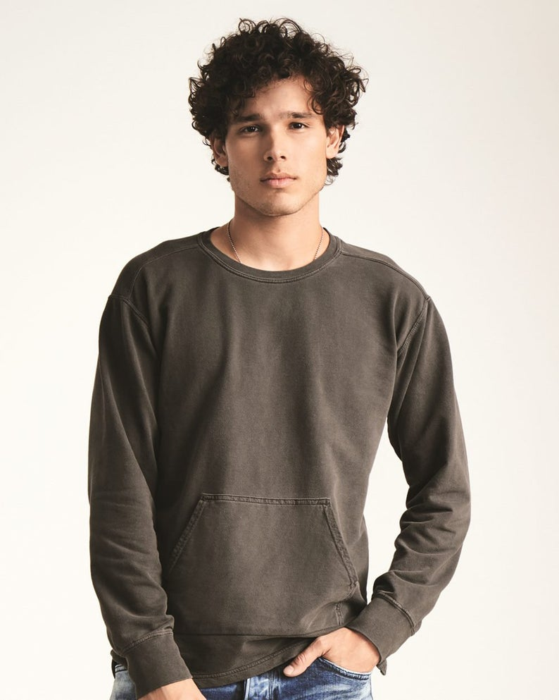 Garment-Dyed French Terry Crewneck Pullover
