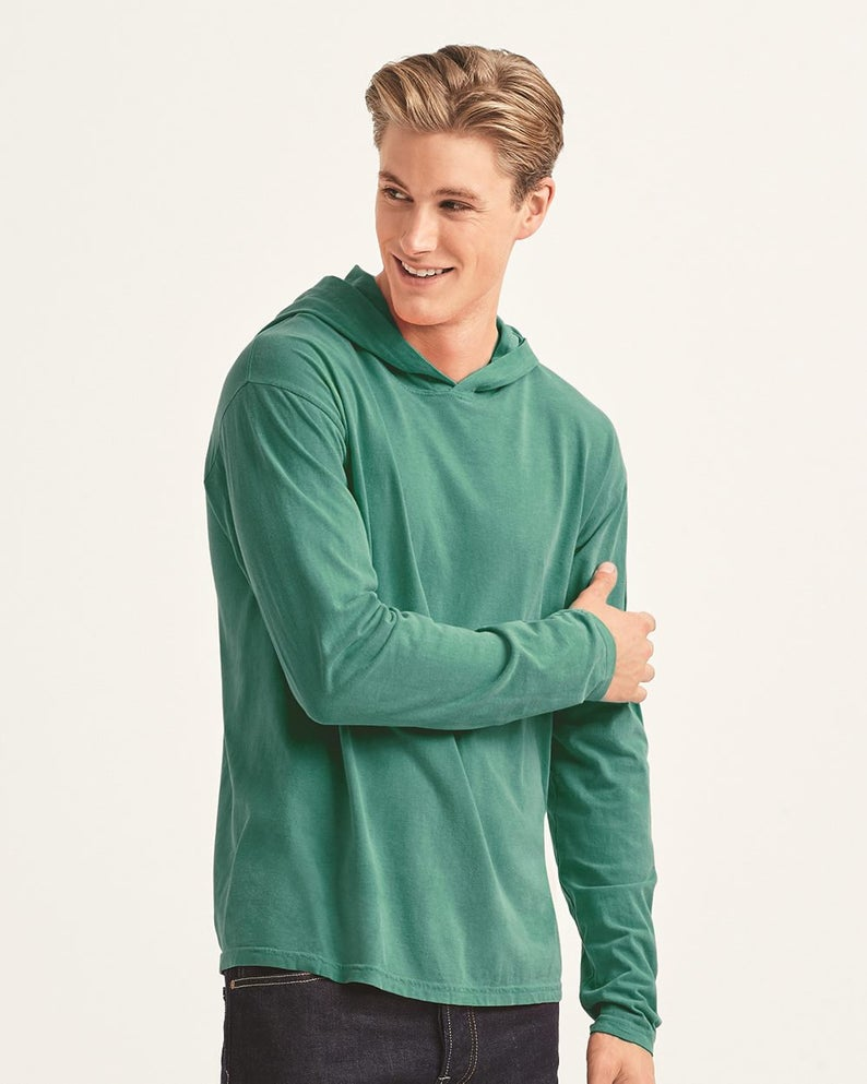 Garment-Dyed Heavyweight Hooded Long Sleeve T-Shirt