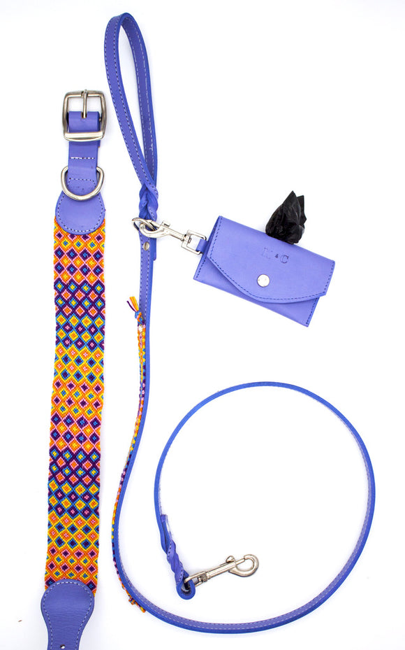 LEASH - COLLAR - POOP BAG HOLDER SET