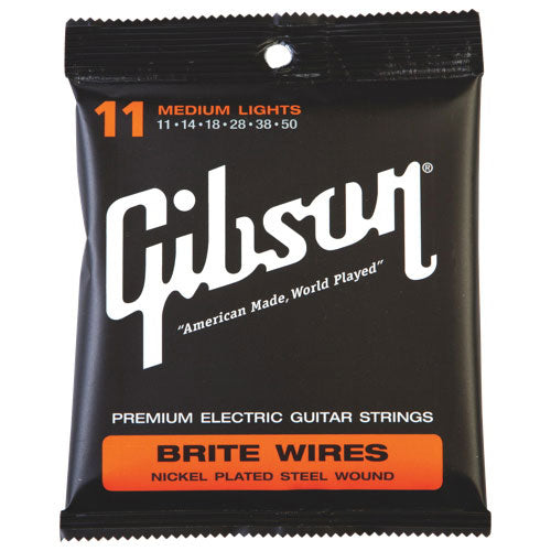 GIBSON BRITE WIRES NICKEL PLATED STEEL WOUND STRINGS MEDIUM LIGHT 11-50
