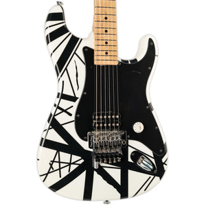 USED CHARVEL USA EVH STRIPED SERIES- BLACK AND WHITE- WITH CASE