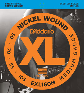 D'ADDARIO EXL160M NICKEL WOUND MEDIUM SCALE BASS STRINGS 50-105
