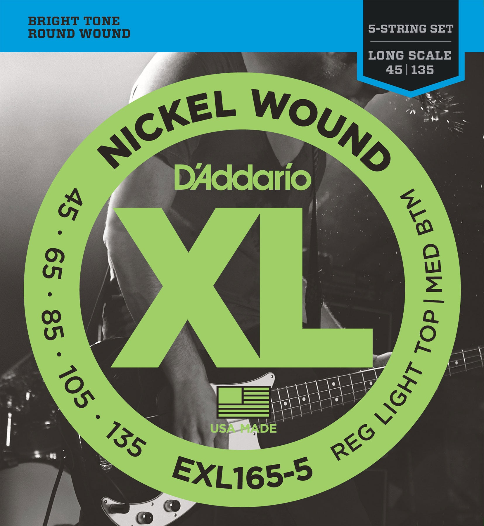 D'ADDARIO NICKEL WOUND BASS STRINGS REGULAR LIGHT TOP/MEDIUM BOTTOM 5-STRING 45-135