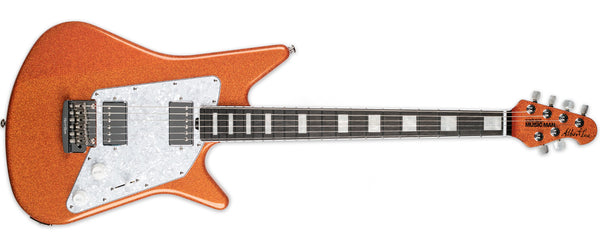 ERNIE BALL MUSIC MAN ALBERT LEE HH BFR ORANGE CRUSH SPARKLE BOUND EBONY FINGERBOARD BLOCK INLAYS