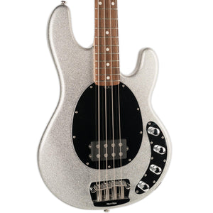 USED ERNIE BALL MUSIC MAN STINGRAY 4 SILVER SPARKLE WITH CASE