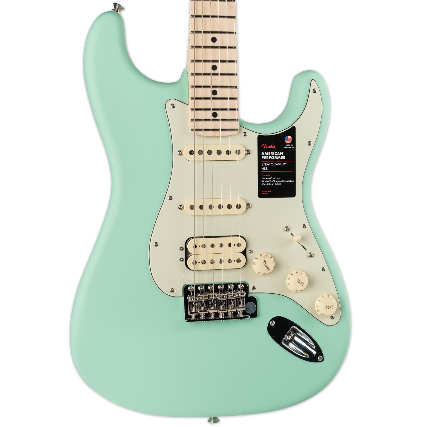 FENDER AMERICAN PERFORMER STRATOCASTER HSS MAPLE FINGERBOARD SATIN SURF GREEN
