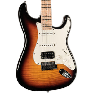 USED FENDER CUSTOM SHOP CUSTOM DELUXE STRATOCASTER 3-TONE SUNBURST, BIRD'S EYE MAPLE NECK WITH CASE