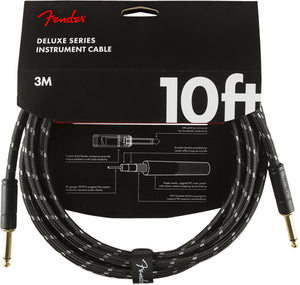 FENDER DELUXE SERIES INSTRUMENT CABLE 10' BLACK TWEED STRAIGHT TO STRAIGHT
