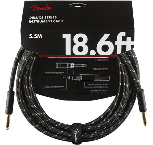 FENDER DELUXE SERIES INSTRUMENT CABLE 18.6' BLACK TWEED STRAIGHT TO STRAIGHT