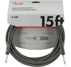 FENDER PROFESSIONAL SERIES INSTRUMENT CABLE 15' GREY TWEED STRAIGHT TO STRAIGHT