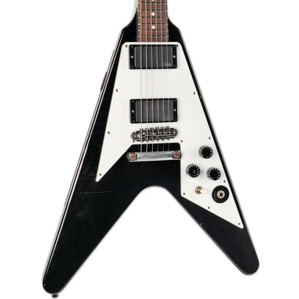 USED GIBSON CUSTOM SHOP KIRK HAMMETT FLYING V AGED & SIGNED WITH CASE AND COA #28
