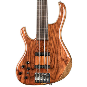 USED KINAL CUSTOM 5 STRING FRETLESS BASS LEFT HANDED  W/OHSC