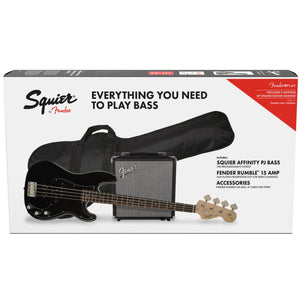 SQUIER AFFINITY SERIES PRECISON BASS PJ PACK - BLACK W/ RUMBLE 15