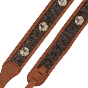 "TAYLOR GP300-05C GRAND PACIFIC 3"" GUITAR STRAP - BROWN LEATHER/CONCHO"