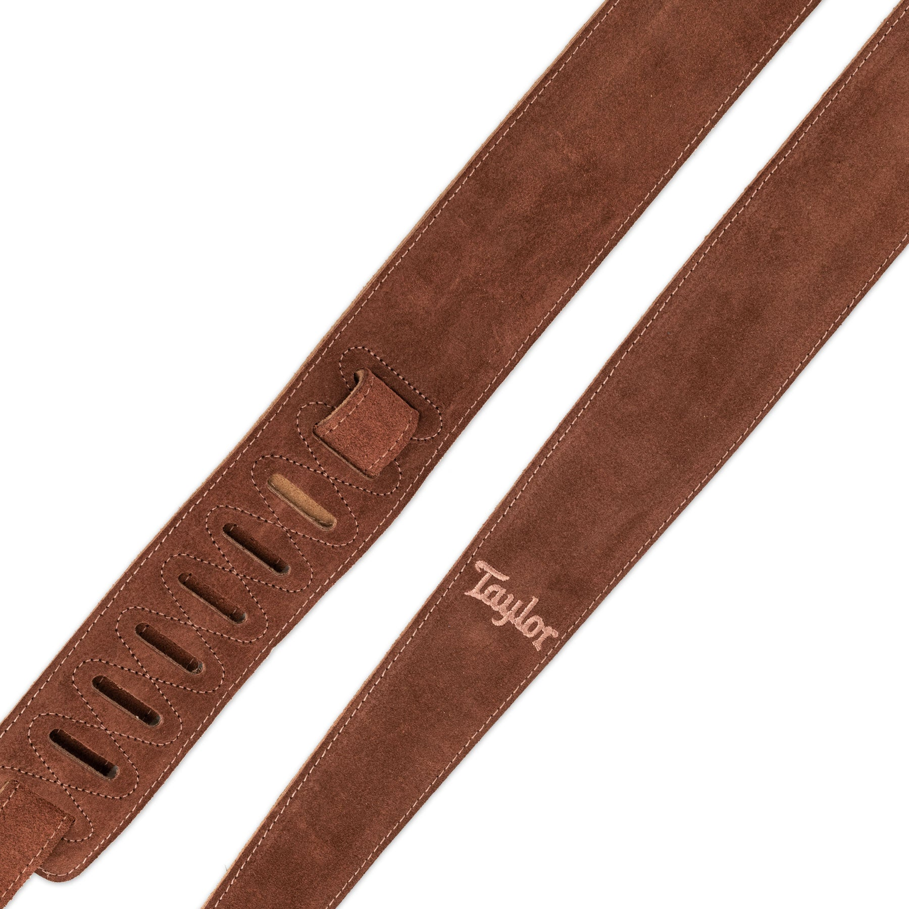 "TAYLOR TS250-05 2.5"" EMBROIDERED SUEDE GUITAR STRAP - CHOCOLATE"