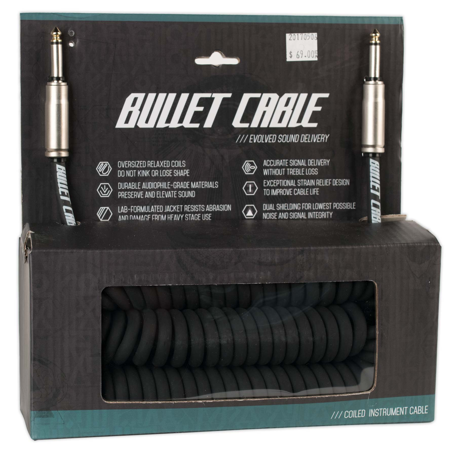 BULLET CABLE 30 COIL CABLE BLACK STRAIGHT/STRAIGHT CONNECTORS