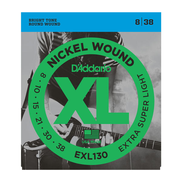 D'ADDARIO NICKEL WOUND ELECTRIC GUITAR STRINGS EXTRA SUPER LIGHT 8-38