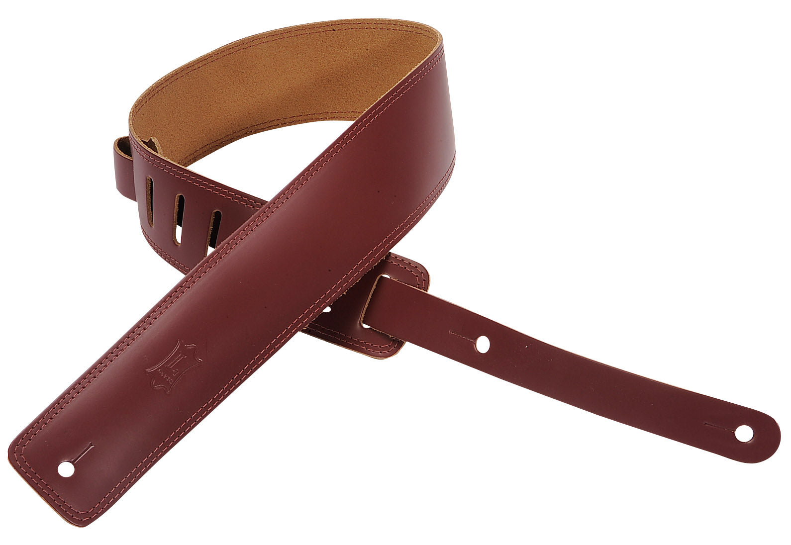 "LEVY'S 2.5"" LEATHER GUITAR STRAP WITH DOUBLE STITCH BURGANDY"