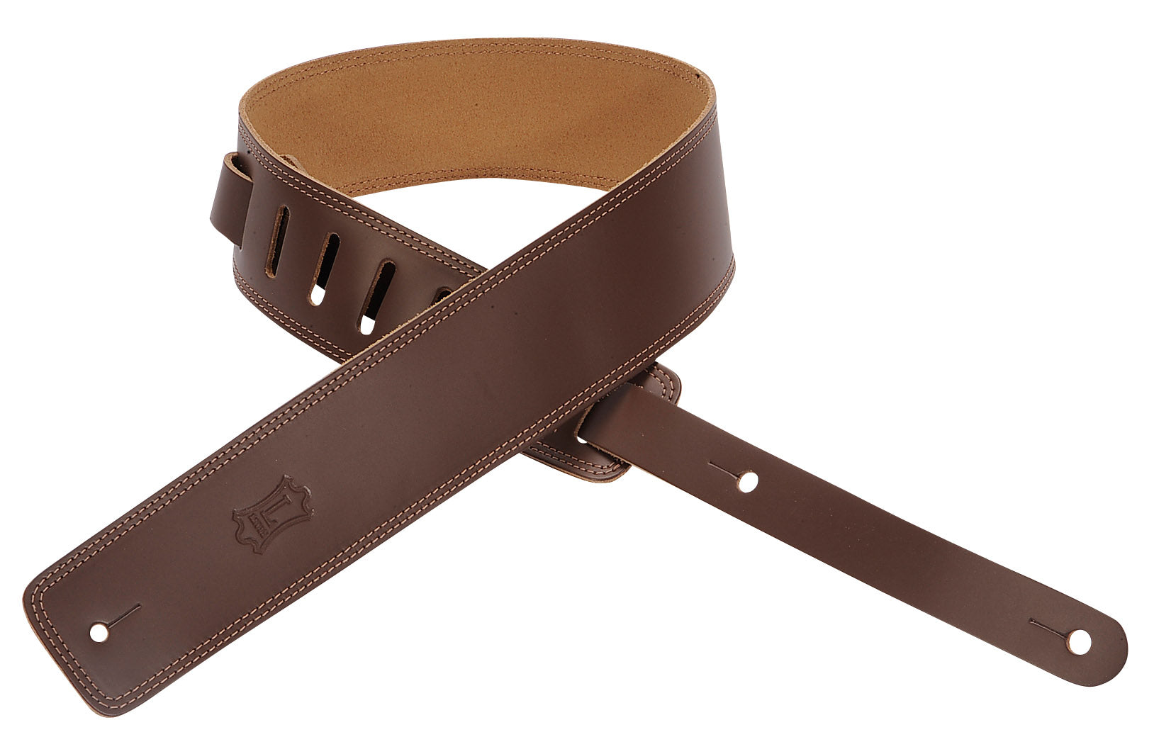 "LEVY'S 2.5"" LEATHER GUITAR STRAP WITH DOUBLE STITCH BROWN+C274"