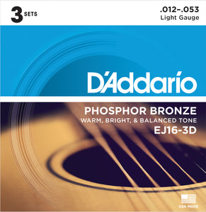 D'ADDARIO PHOSPHOR BRONZE ACOUSTIC GUITAR STRINGS LIGHT .012-.053 3 PACK