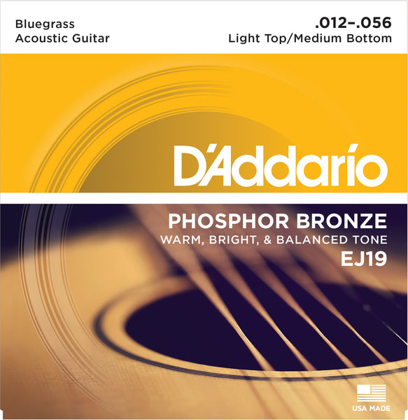 D'ADDARIO PHOSPHOR BRONZE ACOUSTIC GUITAR STRINGS LIGHT .012-.056