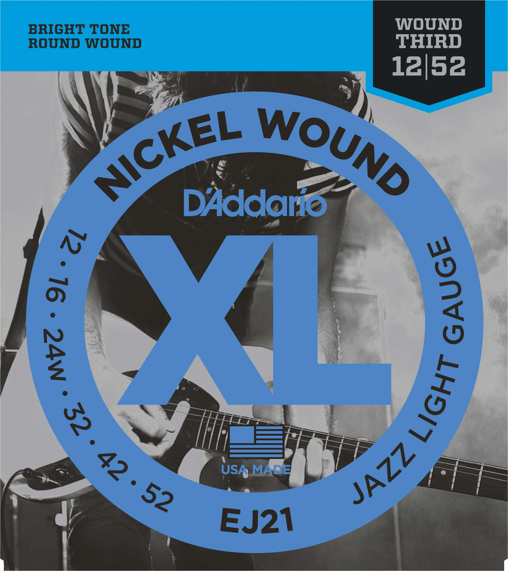 D'ADDARIO NICKEL WOUND ELECTRIC GUITAR STRINGS JAZZ LIGHT 12-52