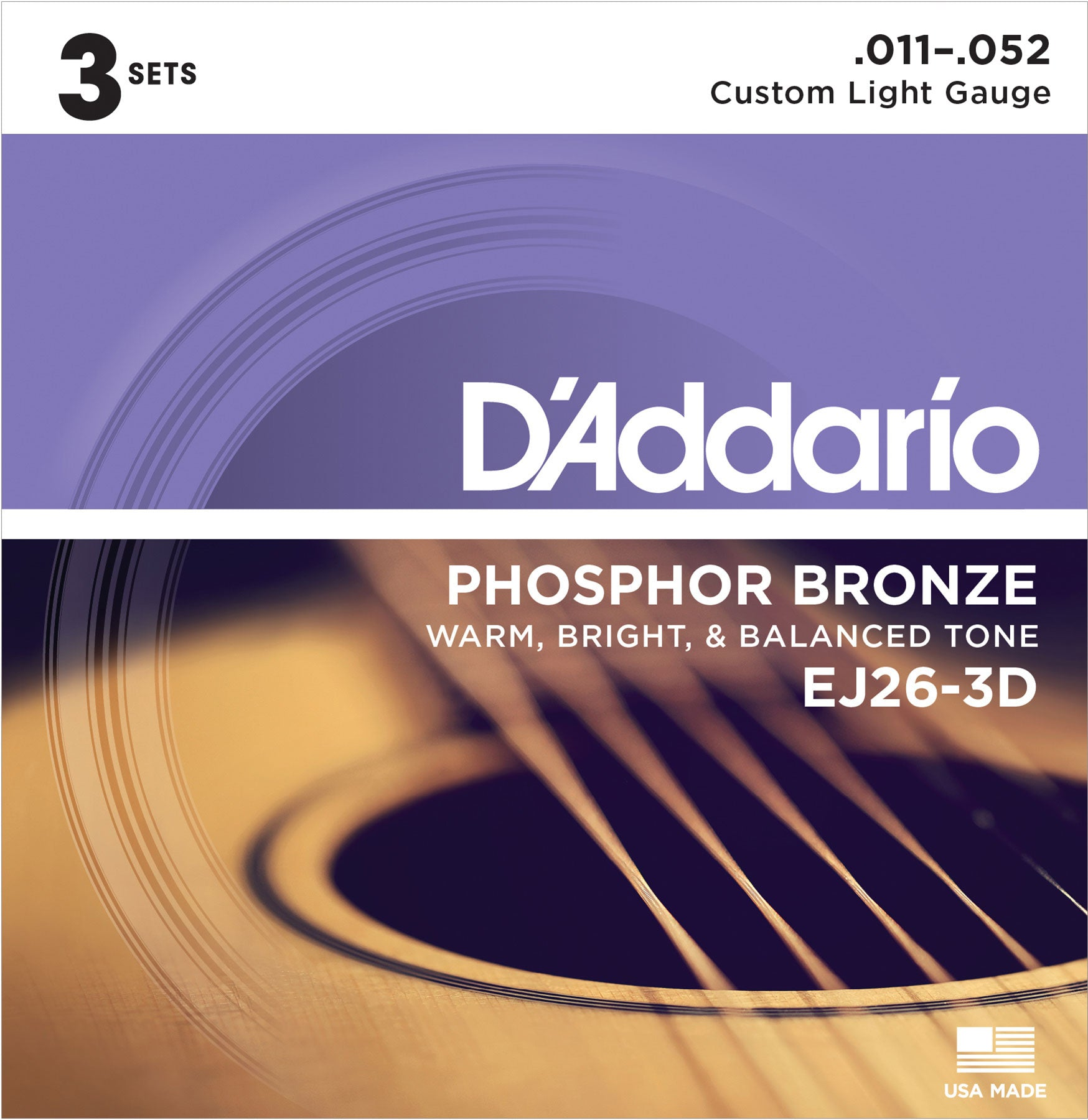 D'ADDARIO PHOSPHOR BRONZE ACOUSTIC GUITAR STRINGS CUSTOM LIGHT .011-.052 3 PACK