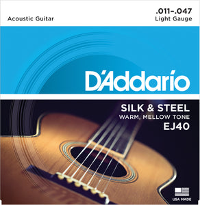D'ADDARIO FOLK SILK & STEEL ACOUSTIC GUITAR STRINGS .011-.047