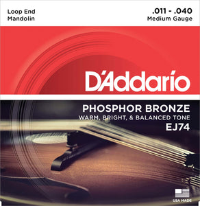 D'ADDARIO PHOSPHOR BRONZE MANDOLIN STRINGS MEDIUM .011-.040