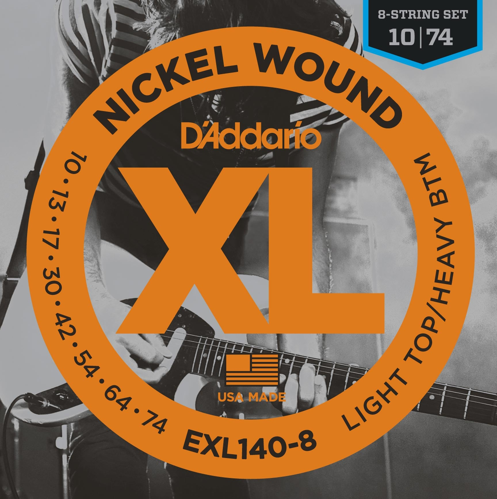 D'ADDARIO EXL140-8 NICKEL WOUND LIGHT TOP/HEAVY BOTTOM 8-STRING GUITAR STRINGS