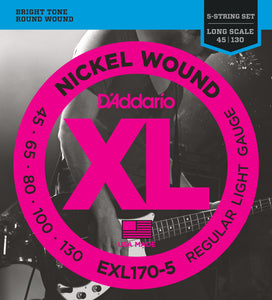D'ADDARIO NICKEL WOUND BASS STRINGS REGULAR LIGHT 5-STRING 45-130