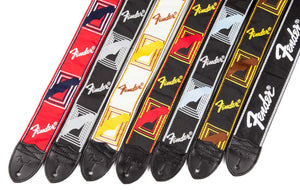 "FENDER 2"" BLACK GUITAR STRAP WITH WHITE RUNNING LOGO"