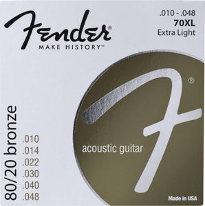 FENDER 70XL 80/20 BRONZE EXTRA LIGHT ACOUSTIC GUITAR STRINGS .010-.048