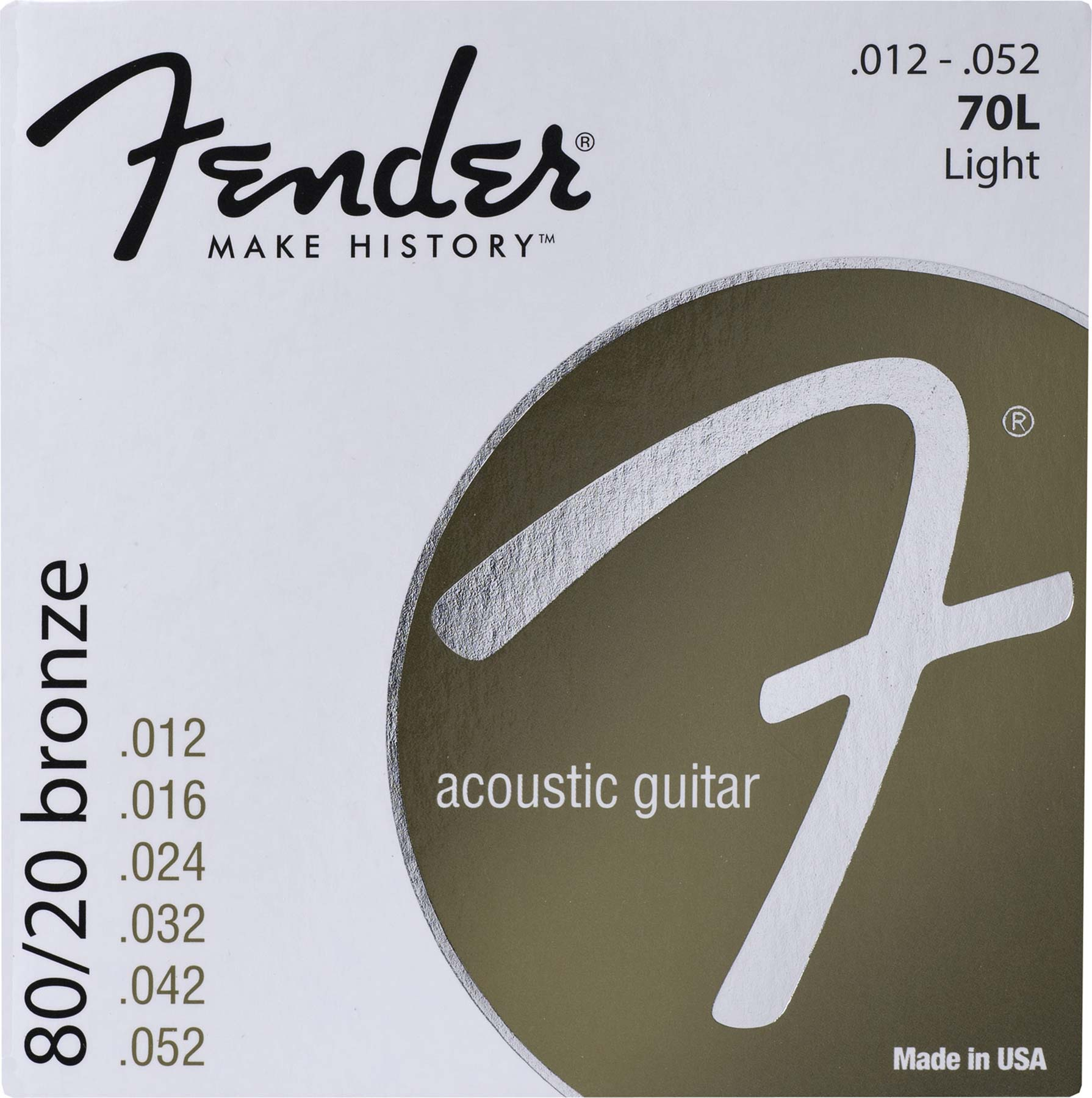 FENDER 70L 80/20 BRONZE LIGHT ACOUSTIC GUITAR STRINGS .012-.052