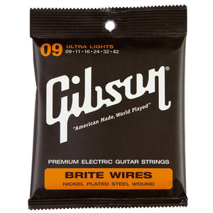 GIBSON BRITE WIRES NICKEL PLATED STEEL WOUND STRINGS ULTRA LIGHT 9-42