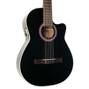 LA PATRIE HYBRID CUTAWAY BLACK QII NYLON STRING GUITAR WITH PICKUP AND TRIC CASE