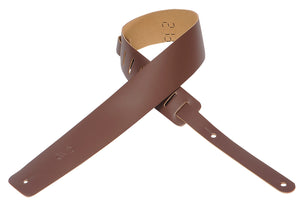 "LEVY'S 2 1/2"" LEATHER GUITAR STRAP BROWN"