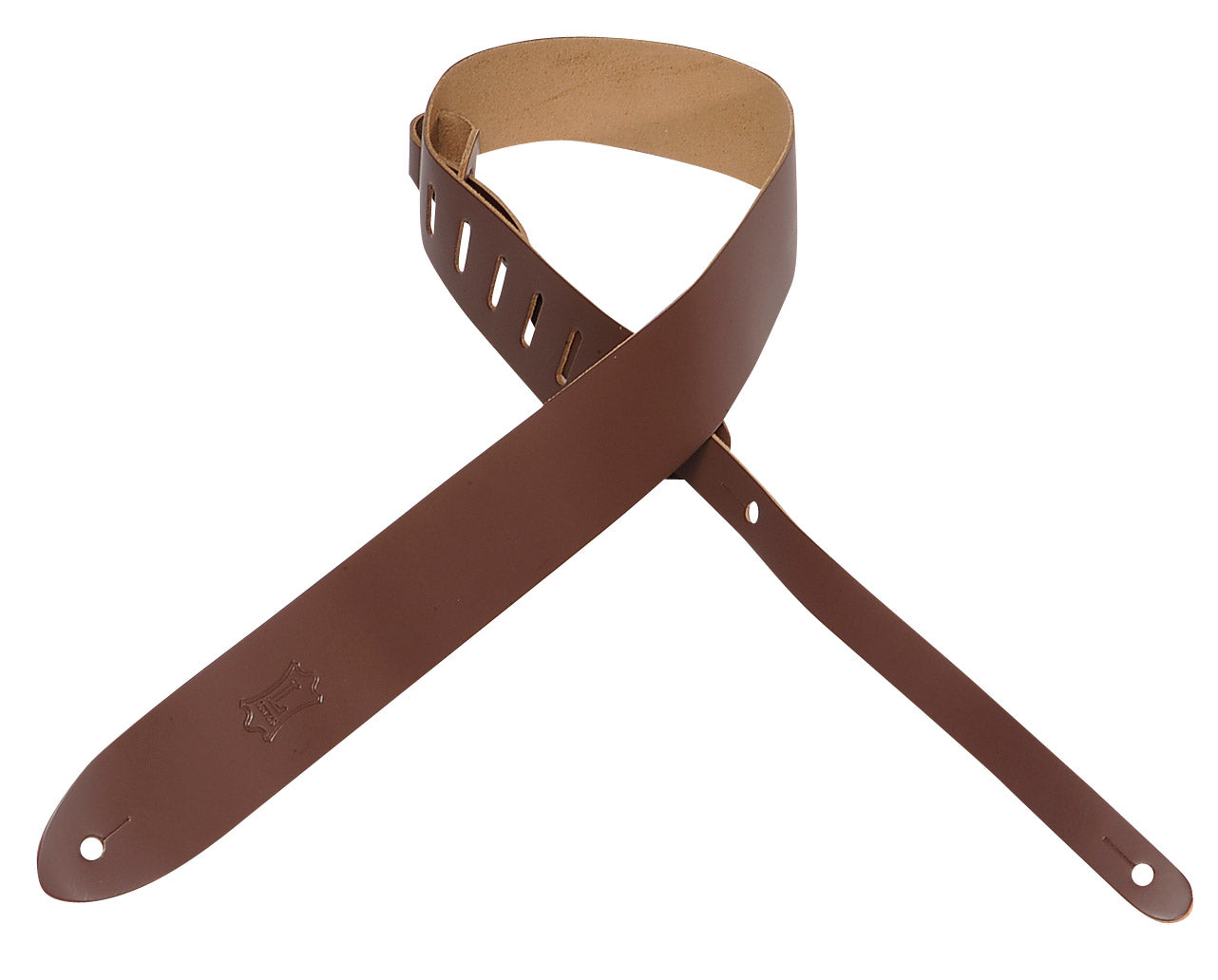 "LEVY'S 2"" LEATHER GUITAR STRAP BROWN"