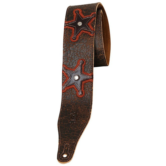 "LEVY'S 2 1/2"" CRACKED LEATHER STRAP WITH STAR APPLIQUE"