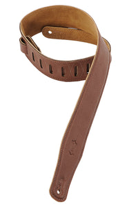 "LEVY'S 2 1/2"" GARMENT LEATHER GUITAR STRAP WITH FOAM PADDING - BROWN"