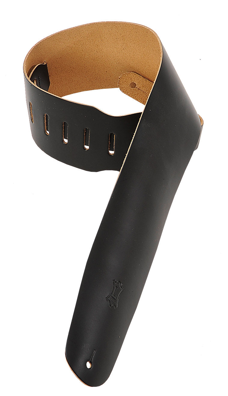 "LEVY'S 3 1/2"" LEATHER BASS STRAP BLACK"