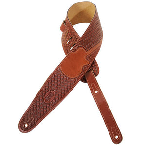 "LEVY'S 3"" VEG-TAN LEATHER STRAP W/ BASKET WEAVE AND GUITAR INLAY BROWN"