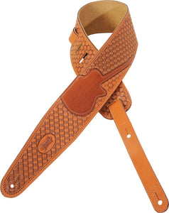 "LEVY'S 3"" VEG-TAN LEATHER STRAP W/ BASKET WEAVE AND GUITAR INLAY TAN"