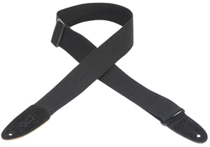 "LEVY'S 2"" COTTON GUITAR STRAP WITH SUEDE ENDS- BLACK"