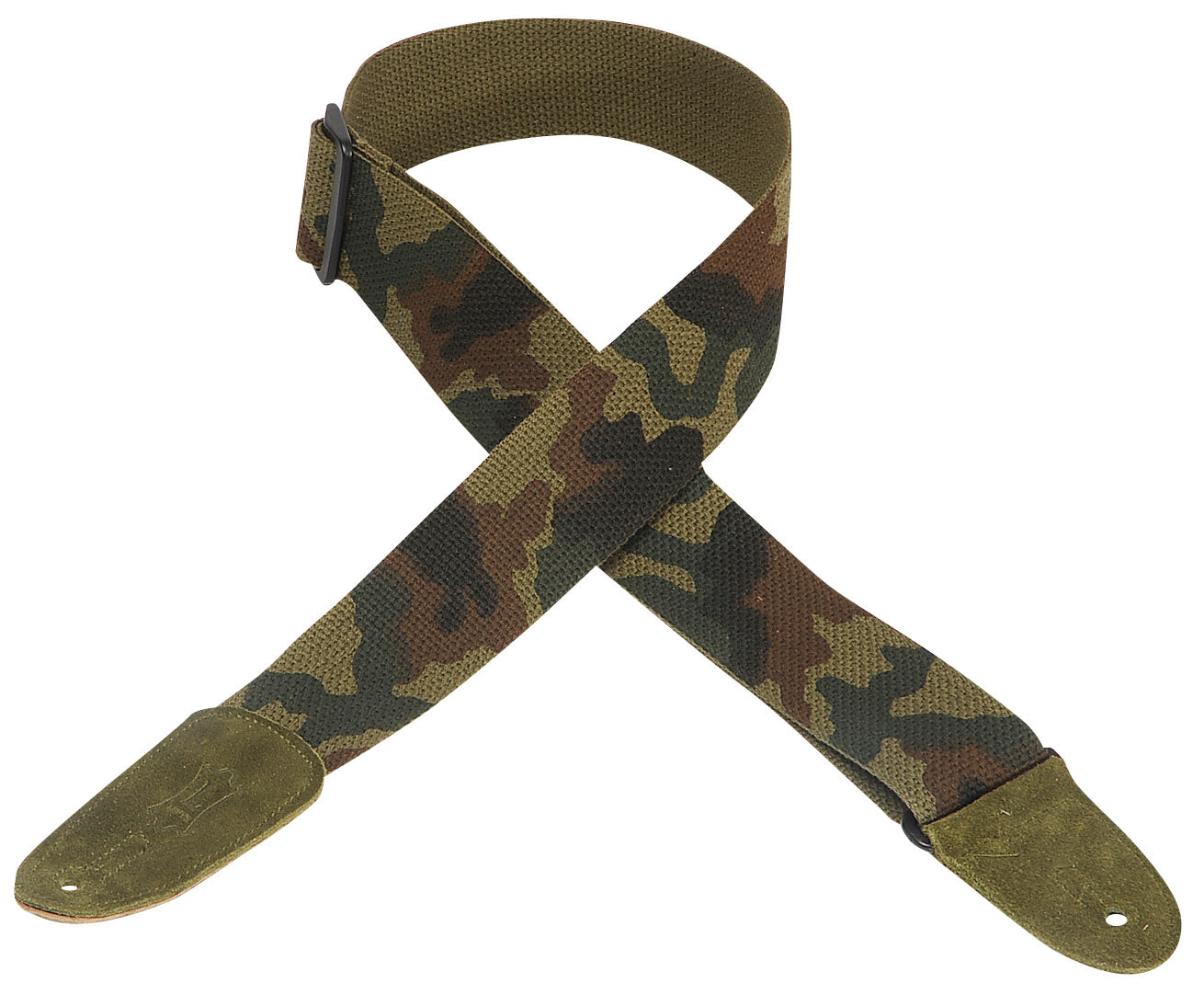 "LEVY'S 2"" COTTON GUITAR STRAP WITH SUEDE ENDS- CAMO"