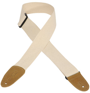 "LEVY'S 2"" COTTON GUITAR STRAP WITH SUEDE ENDS- NATURAL"