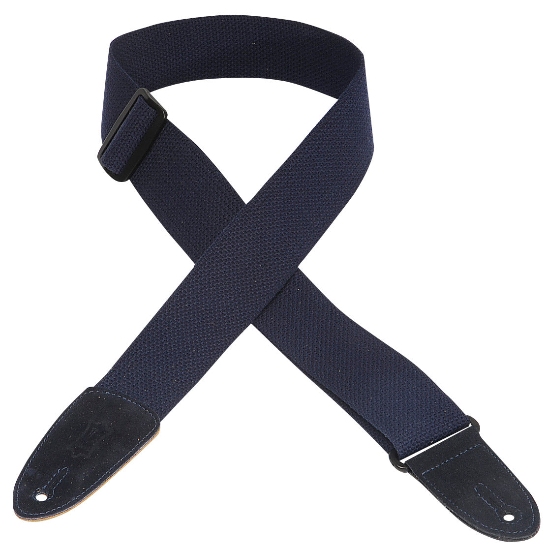 "LEVY'S 2"" COTTON GUITAR STRAP WITH SUEDE ENDS- NAVY"