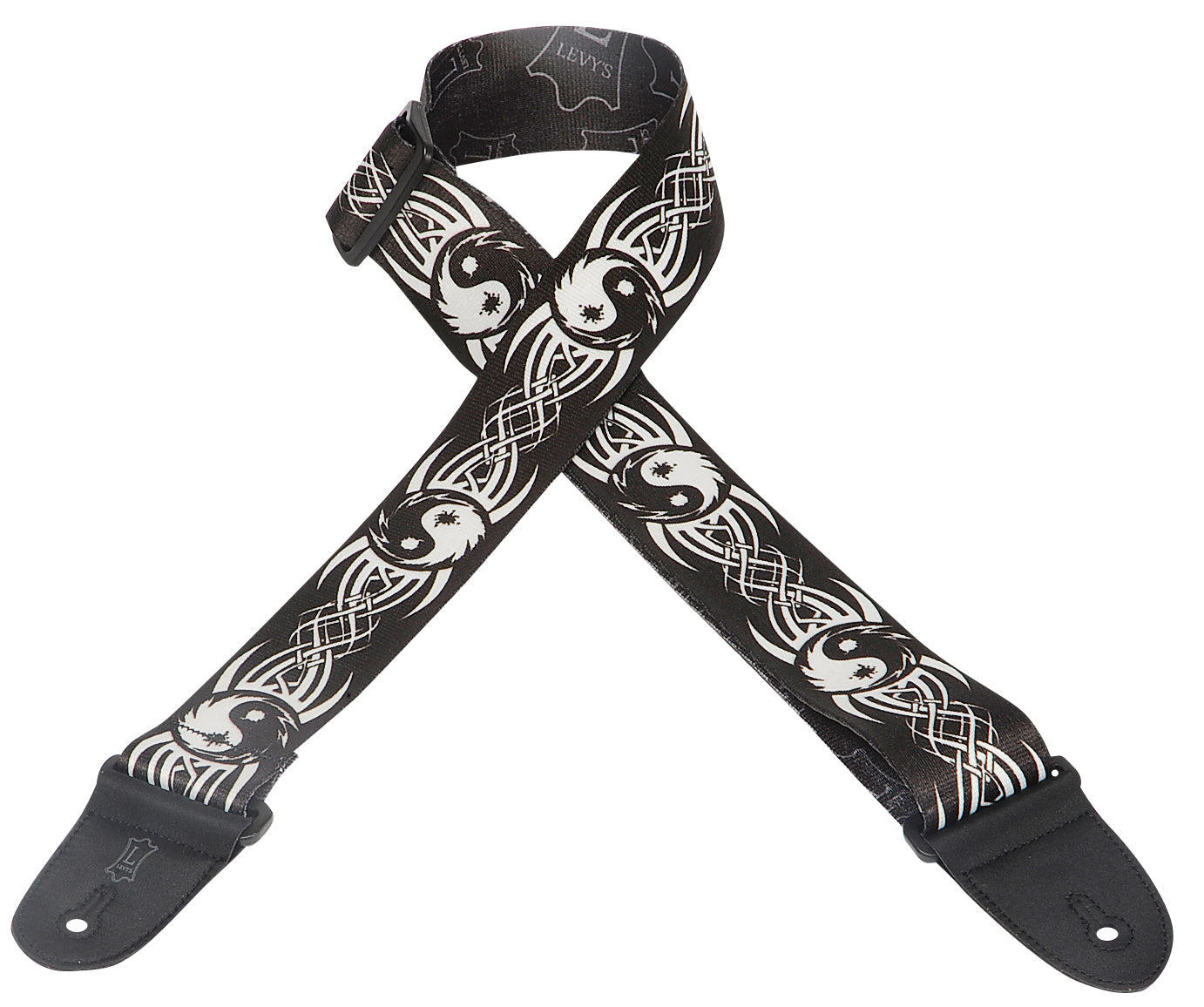"LEVY'S 2"" POLYESTER GUITAR STRAP WITH PRINTED DESIGN BLACK/WHITE YIN AND YANG"